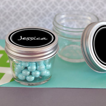 Mason Jars with Vinyl Chalkboard Labels for Wedding