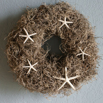 Starfish coastal wreath by JustShellin on Etsy