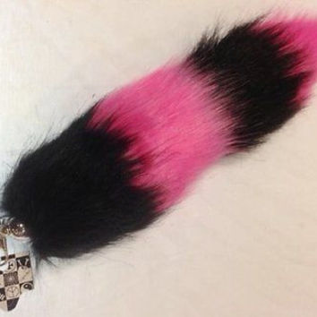 "HOT PINK AND BLACK STRIPES FAUX FOX TAIL FOXTAIL KEYCHAIN 12"" CLIP-BRAND NEW!"