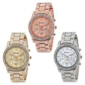Horloges Watch Luxury Faux Chronograph Quartz Plated Classic Round Ladies Women Crystals Stainless Steel Band Famous Brand Wrist