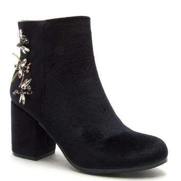 Dragonfly Gem Embellished Booties