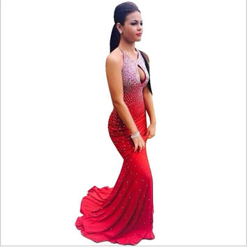 FG16 Sexy Backless Halter Mermaid Prom Dresses 2016 Modern Red Chiffon Pearls Evening Party Dress For Graduation Robe de soiree