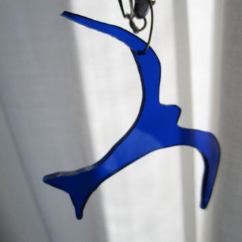 Blue Seagull on Sterling Silver Chain Necklace