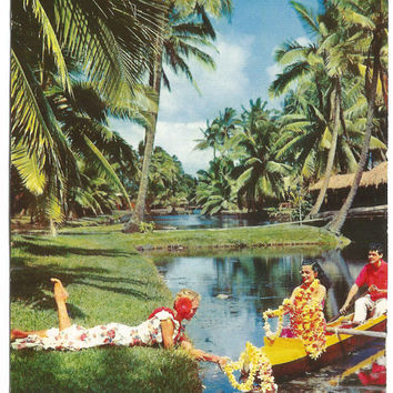 Coco Palm's Resort Hotel Island of Kauai Hawaii Hawaiian Dancers Hawaiian Color Card 1962 Mike Roberts Vintage Postcard