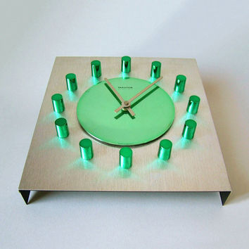 Vintage West German Mauthe electric Quartz wall clock 60s 70s square kitchen clock green anodized aluminum clock face office atomic age