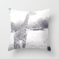 Giraffe painting Throw Pillow by Elyse Notarianni