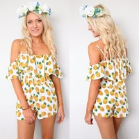 FESTIVAL PINEAPPLE PRINTS OFF THE SHOULDERS PLAYSUIT JUMPSUIT 6 8 10 12