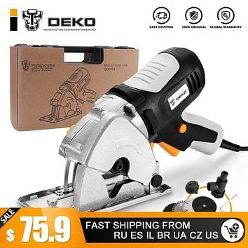 DEKO Mini Circular Saw Handle Power Tools, 4 Blades, BMC BOX Electric Saw with Personal Safety