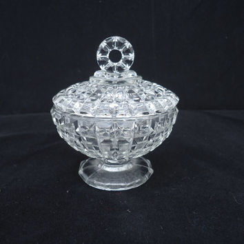 Vintage Art Deco, Depression Clear Glass Large Trinket Box/Powder Jar/Jewelry box , UK Seller