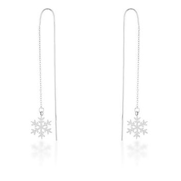 Noelle Rhodium Stainless Steel Snowflake Threaded Drop Earrings