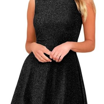 Shine The Way Black Sleeveless Skater Dress