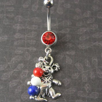 50th Anniversary Grateful Dead Belly Button Ring ~ Red, White & Blue Dancing Bear on a Red 316L 14g Navel Jewelry Bohemian Deadhead