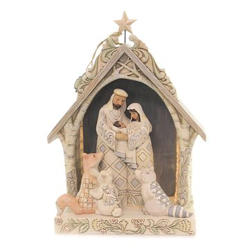Jim Shore A KING FOR ALL CREATURES Polyresin White Woodland Lighted 6003361