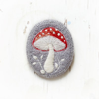 toadstool , mushroom , brooch , needle felted , embroidered ,felt ,