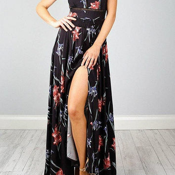 Black Floral Print Halter Neck Strappy Back Split Maxi Dress