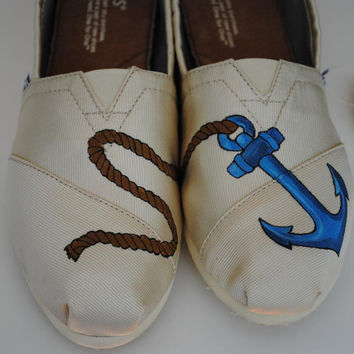Mens Custom Hand Painted TOMS Anchor Design by PaperHeartsApparel