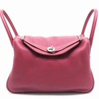 Hermes Lindy 30 2 Way Shoulder Bag Clemence Leather Ruby/ Red 4184