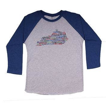 Kentucky Cities and Towns Raglan Tee Shirt in Royal Blue by Southern Roots