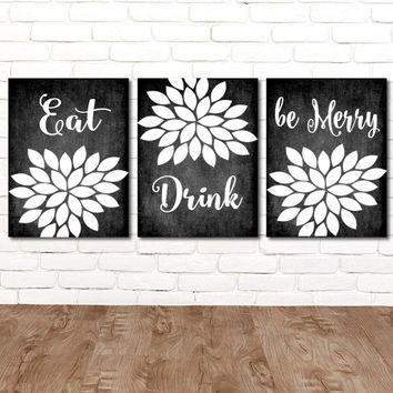 EAT DRINK Be Merry Wall Art, Farmhouse Kitchen Decor, CANVAS or Prints, Farmhouse Chalkboard Wall Decor, Kitchen Quote Pictures, Set of 3