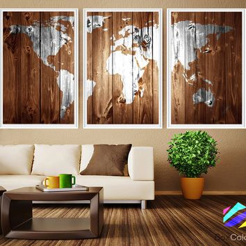 XL 3 Panels Poster World Map Abstract Art Print Photo Paper brown wood texture Wall Decor Home  (frame is not included) FREE Shipping USA