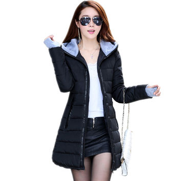 Womens Winter Jackets 2016 New Medium-Long Down Cotton Parka Plus Size Jacket Coat Slim Ladies Casual Clothing Navy and Black