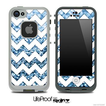 White Chevron Blue Glimmer Skin for the iPhone 5 or 4/4s LifeProof Case
