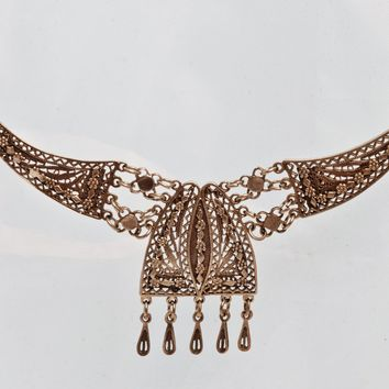 Vintage Middle Eastern Silver Filigree Necklace