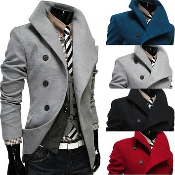 2016 new men coat inclined placket single-breasted tweed coat cultivate one's morality men's cloth coat lapels