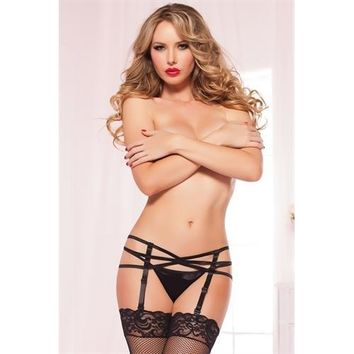 Strappy Elastic Garter Belt - One Size - Black