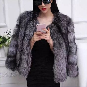 BINYUXD New design, 2016 Autumn Winter coat warm New Silver Fox Fur coat outerwear womens fashion fur coat plus size S-3XL