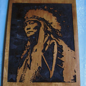 Native American wood carving/wall art - Hollow Horn Bear