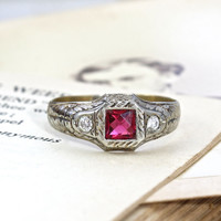 Edwardian Ruby and Diamond Ring, Antique 14k Friendship Gift Love Token, Full Cut Diamonds Synthetic Ruby Ring, Circa 1910 July Birthstone