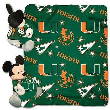 Miami Hurricanes NCAA Mickey Mouse Throw and Hugger Pillow Set