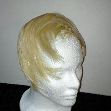Vintage Fascinator Flapper Gatsby Style Real Feather Bandeau Half Hat Blonde Fashion Accessory 40s-50s Estate Piece Excellent Cond Fashion