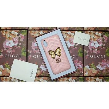GUCCI Simple Pattern iPhone6s Mobile Shell Diamond Butterfly 7plus Holster F-OF-SJK Pink