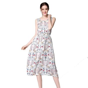Summer Dress Sexy Women Long Bohemia Sleeveless Floral Print Beach Mid-Calf Party Casual A-Line Dress vestido