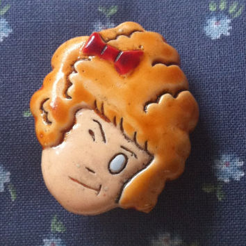Vintage Collector Little Orphan Annie Pin by delicatedoily on Etsy