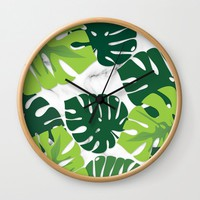 Monstera Marble Wall Clock by littlebiscuit