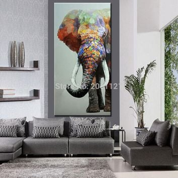 hand painted large big elephant wall art abstract textured vertical animal oil paintings for corridor hall living room decor