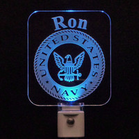 United States Navy Personalized LED Night Light - Military Light
