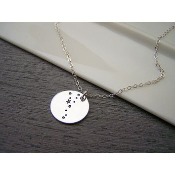 Dainty Sterling Silver Zodiac Taurus Constellation Necklace / Gift for Her