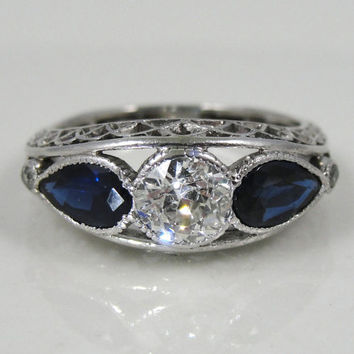 Sapphire and Diamond Art Deco Platinum Filigree Ladies Cocktail Ring RGDI495P