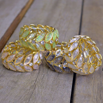Laurel Lily Sparkle Leaf Stretch Bracelets