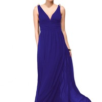 Blue Evening V-Neck Dress with Crystal Shoulder Detail