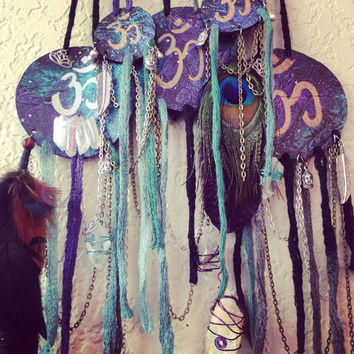 Om Wall Hanger Galaxy Display Crystal Hanging Healing Crystals and Stones Bohemian Decor Hand Painted Leather Display Essential Oil Diffuser