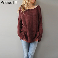 Preself NEW AUTUMN WINTER Pullovers BATWING SLEEVE OFF SHOULDER OVERSIZED LOOSE SWEATER SMART JUMPER PLUS SIZE