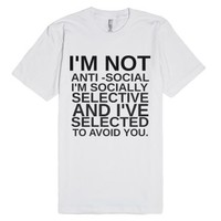 Socially Selective-Unisex White T-Shirt