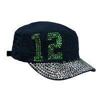 Seattle Seahawks Fan 12th Women Bling Bling Hats One Fit Most (303-Dk Green)