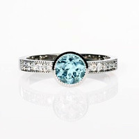 Palladium Ring, Aquamarine engagement ring, Diamond ring, Bezel, Solitaire, Blue, Engagement, Aquamarine ring, Diamond engagement, Milgrain