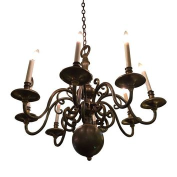 Pre-owned Vintage Brass Eight-Armed Chandelier